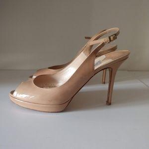 Jimmy Choo Nova Patent Leather Slingback Peep Toe